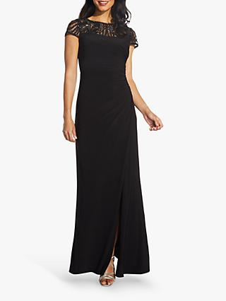 Adrianna Papell Sequin Yoke Maxi Dress, Black