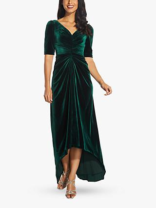 Adrianna Papell Gathered Velvet Dress, Emerald