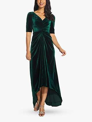 Adrianna Papell Gathered Velvet Dress, Emerald
