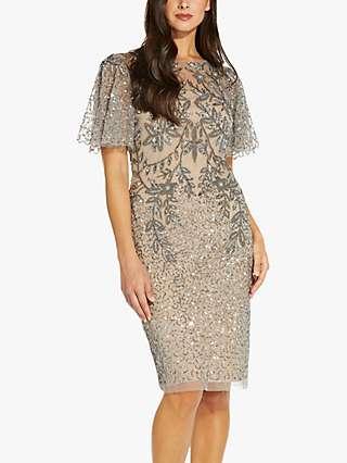 Adrianna Papell Beaded Flute Sleeve Dress, Mercury