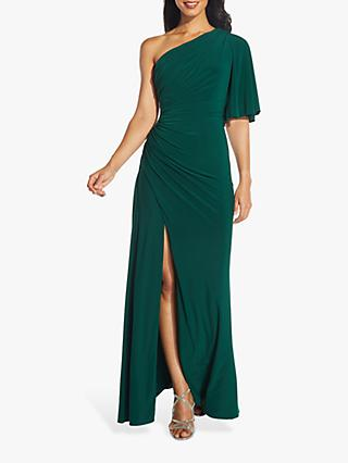 Adrianna Papell Asymmetric Drape Dress, Hunter Green