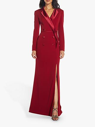 Adrianna Papell Crepe Tuxedo Gown, Matador Red