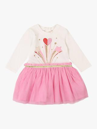 Billieblush Baby Sparkly Tulle Star Dress, Off-White/Pink