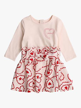 Billieblush Baby Dual Fabric Heart Patterned Dress, Pale Pink
