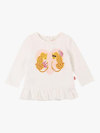 Billieblush Baby Cotton Frilled Long Sleeved Leopard Top, Ivory