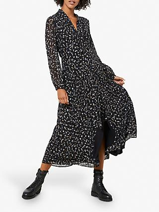 Mint Velvet Miley Floral Midi Dress, Black