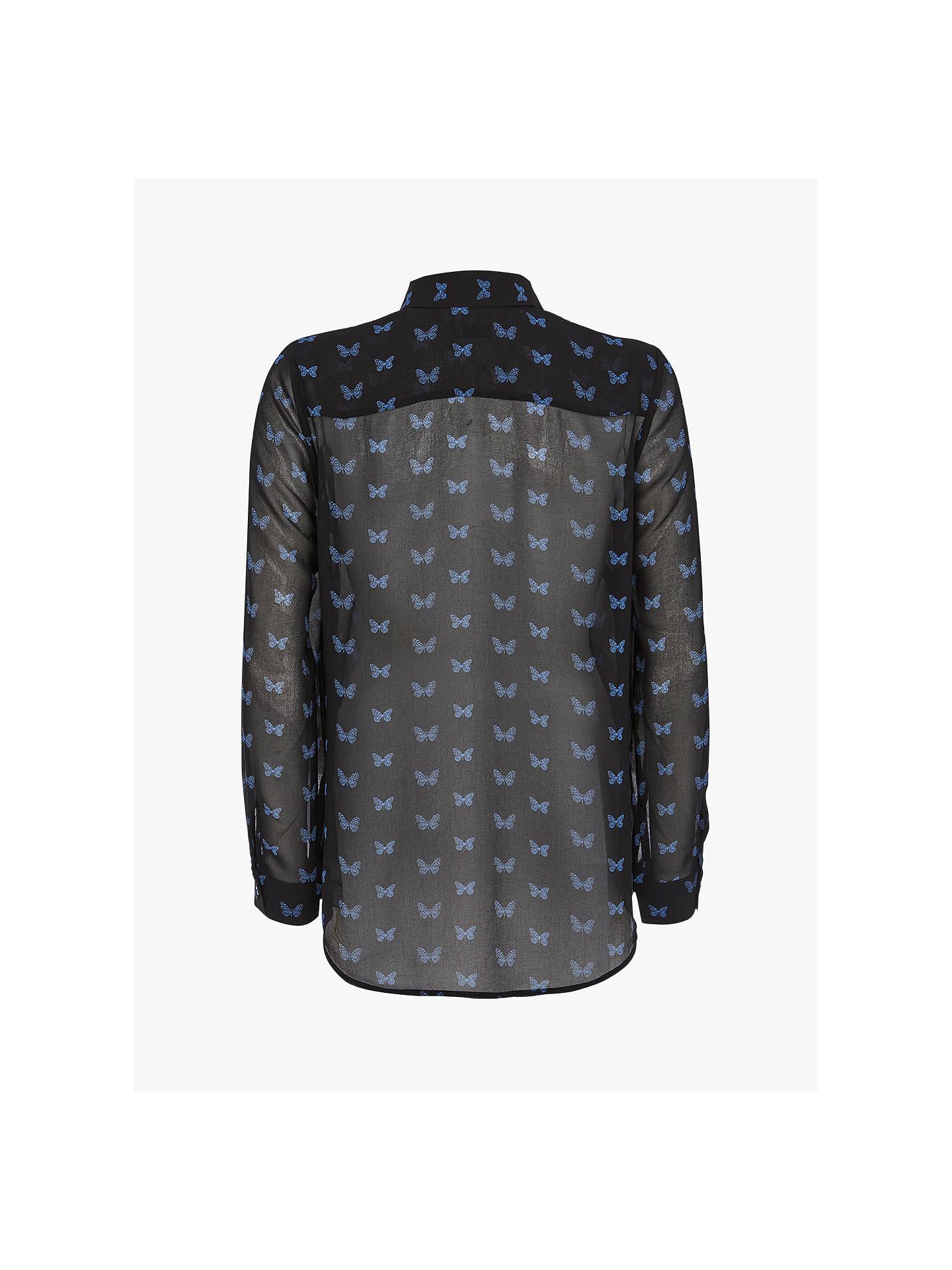 Buy Mint Velvet Elena Butterfly Print Shirt, Black, 6 Online at johnlewis.com