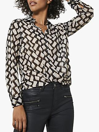 Mint Velvet Gianna Abstract Shirt, Black