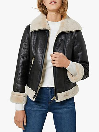 Mint Velvet Leather Aviator Jacket, Black