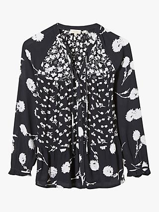 FatFace Monroe Poppy Floral Top, Black/White