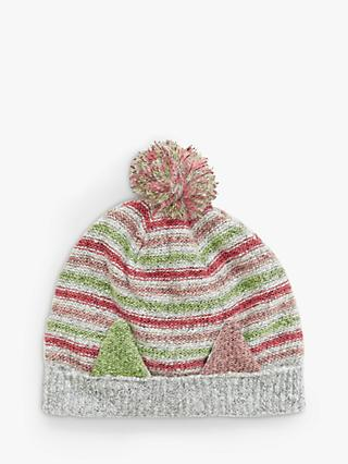 White Stuff Children's Cat Stripe Knit Hat, Grey/Multi