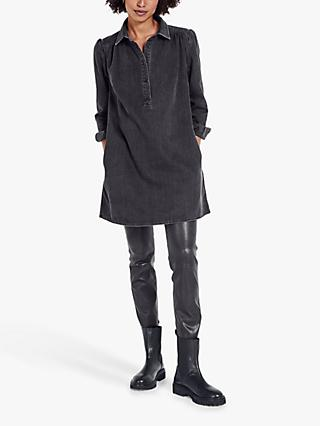 hush Denim Mini Shirt Dress, Washed Black