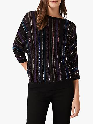Phase Eight Sally Sequin Stripe Knit Top, Multi