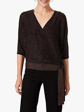 Phase Eight Harper Wrap Knit Top, Bronze
