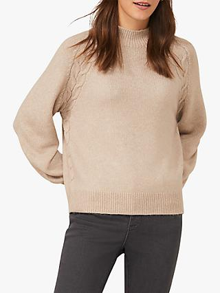 Phase Eight Amabel Cable Knit Blouson Sleeve Jumper, Stone