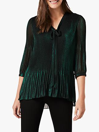 Phase Eight Ella Pleated Foil Blouse, Forest