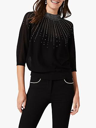 Phase Eight Adrienne Sunray Embellished Knit Top, Black