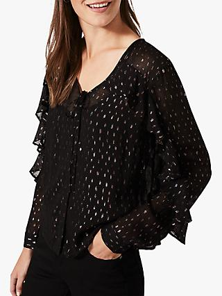 Phase Eight Daniela Shimmer Blouse, Black