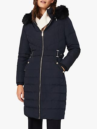 Phase Eight Elouise Faux Fur Hood Puffer Coat, Navy