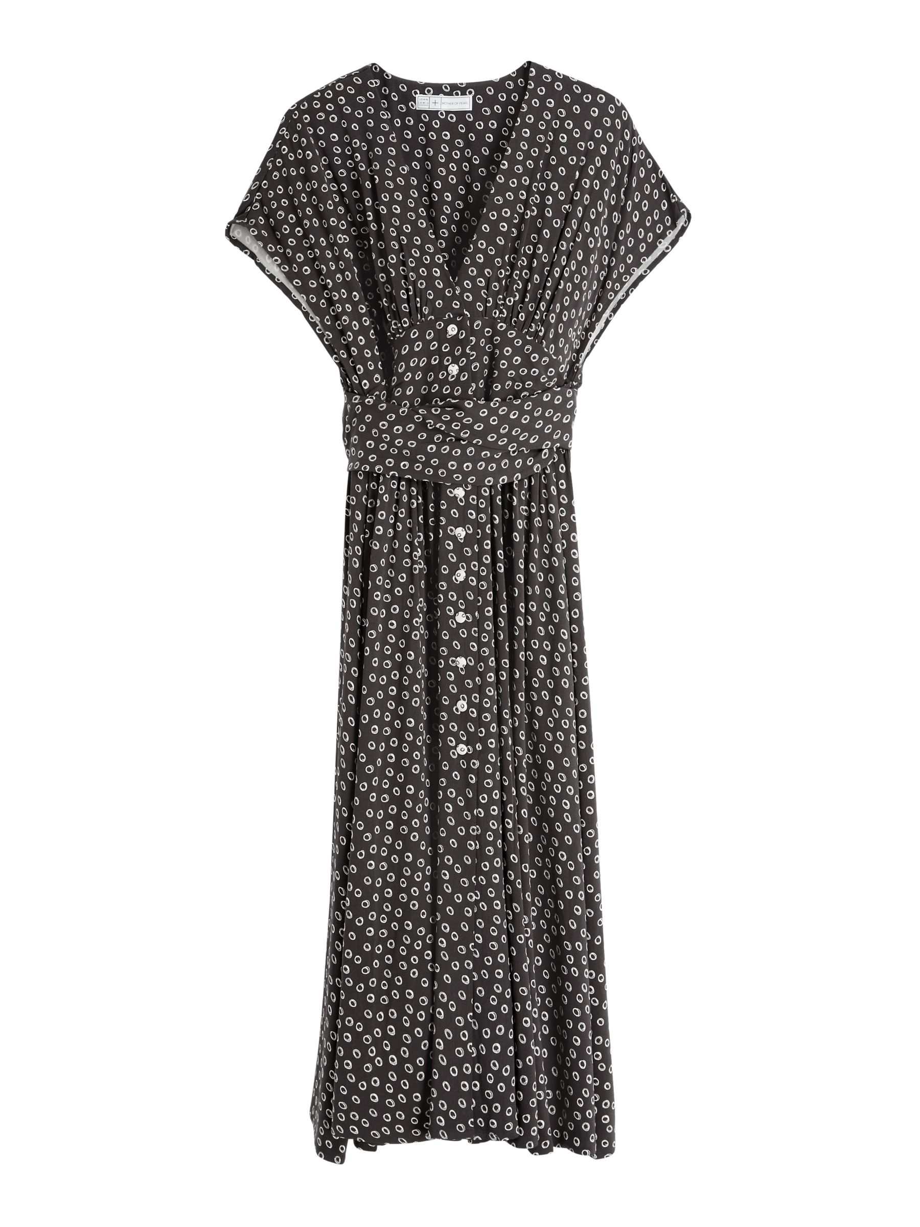 Mother of Pearl ECOVERO™ Spot Bow Back Dress, Black/White