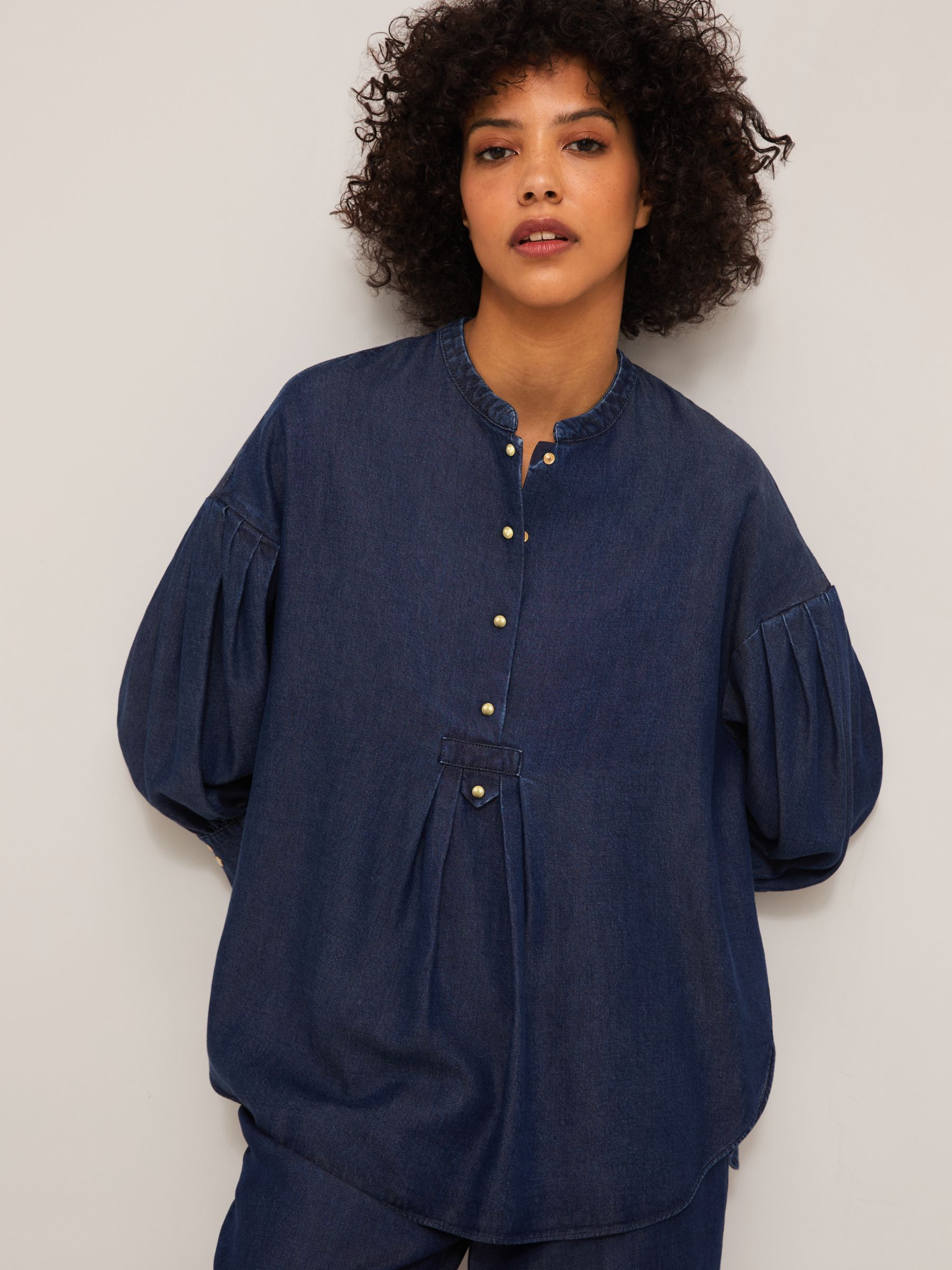 Mother of Pearl Tencel™ Tab Detail Denim Blouse, Blue