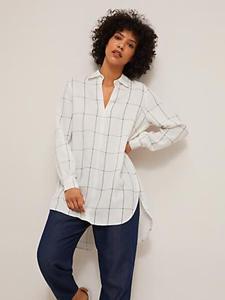 Mother of Pearl Oversized Check Shirt, White