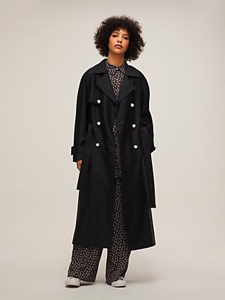 Mother of Pearl Tencel™ Longline Trench Coat, Black