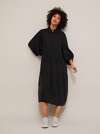 Mother of Pearl ECOVERO™ Tiered Shirt Dress, Black