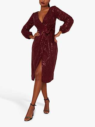 Chi Chi London Julio Embellished Midi Dress, Burgundy