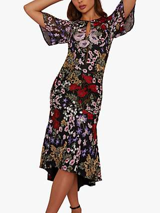 Chi Chi London Jorja Floral Midi Dress, Black