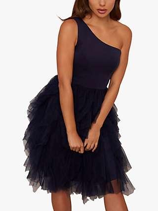 Chi Chi London Zaza Ruffle Knee Length Dress, Navy