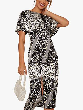 Chi Chi London Vida Animal Print Dress, Black/Multi