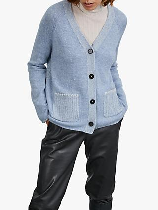 Jigsaw Mouliné Patch Pocket Cardigan, Cashmere Blue