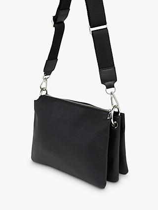 Whistles Katie Leather Triple Pouch Cross Body Bag, Black