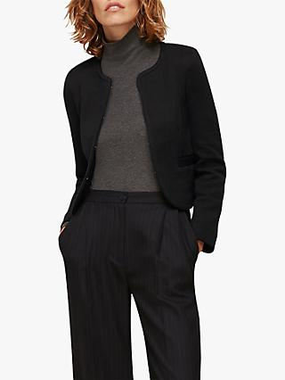 Whistles Collarless Jersey Jacket, Black