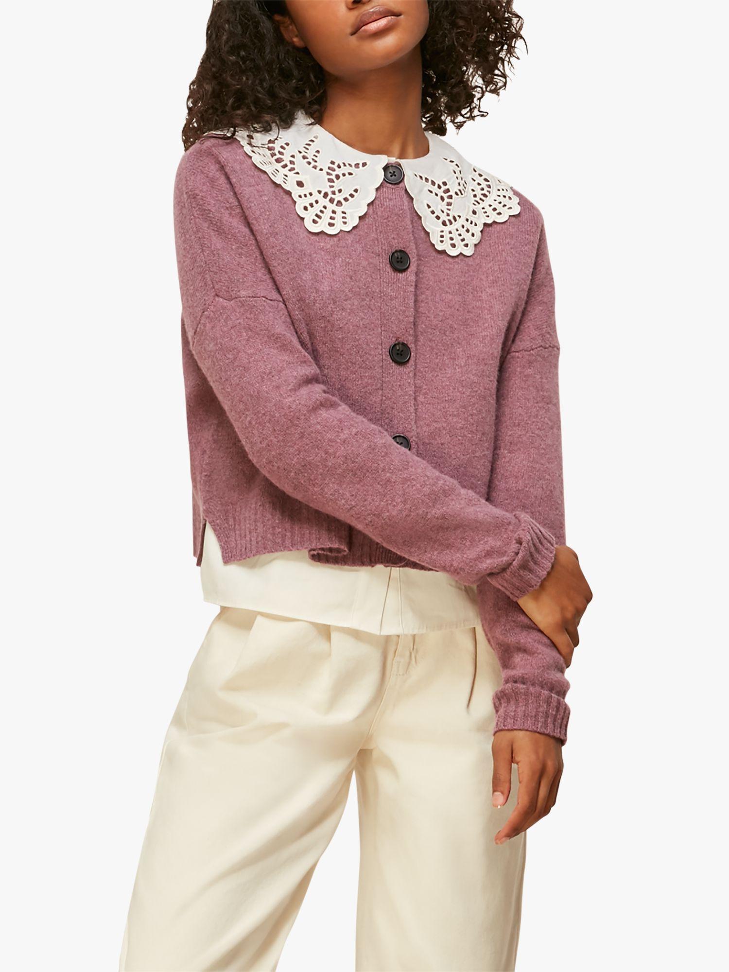 Whistles Reversible Merino Wool Cardigan, Purple/White