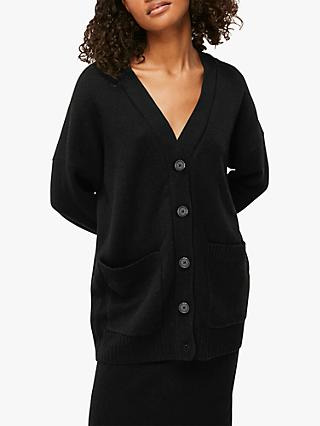Whistles Longline Patch Pocket Wool Cardigan, Black