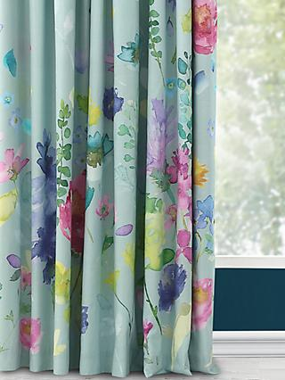 bluebellgray Tetbury Pair Blackout Lined Pencil Pleat Curtains, Duck Egg