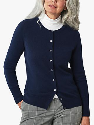 Pure Collection Cashmere Cardigan, Navy