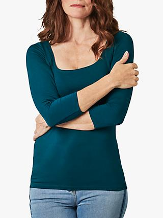 Pure Collection Jersey Square Neck Top, Teal