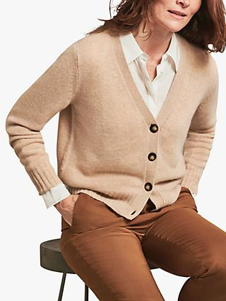 Pure Collection Organic Cashmere Cardigan, Heather Caramel