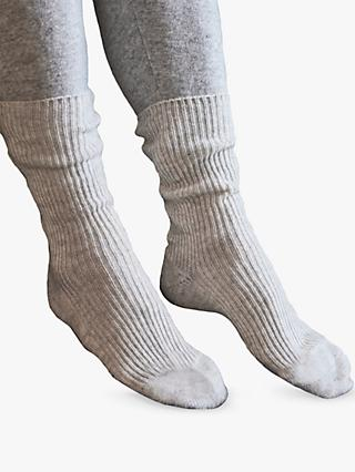 Pure Collection Cashmere Mix Bed Socks, Ice Grey