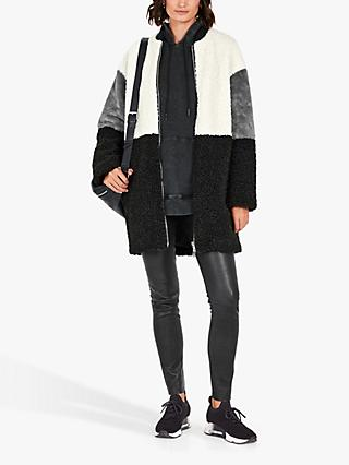 hush Rivage Colour Block Fur Coat, Black/Ecru/Grey