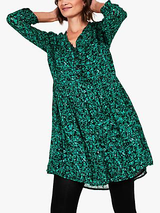 hush Gael Button Floral Smock Mini Dress, Dark Green