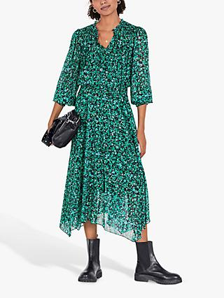hush Valerie Floral Midi Dress, Dark Green