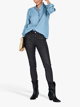 hush India Denim Shirt, Mid Blue