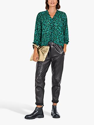 hush Sophy Floral Frill Blouse, Dark Green
