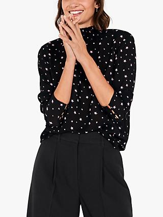 hush Violette Star Blouse, Black/Pink