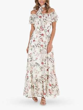Jolie Moi Ruffle Floral Maxi Dress, Cream/Multi