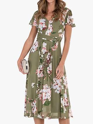 Jolie Moi Floral Flared Midi Dress, Green/Multi